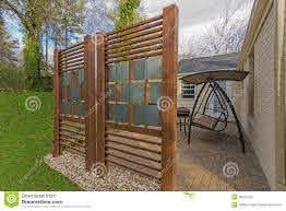 Backyard Patio With Diy Privacy Fence Stock Image Image Of Yard Project 38021263
