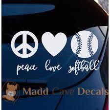Peace Love Softball Vinyl Decal