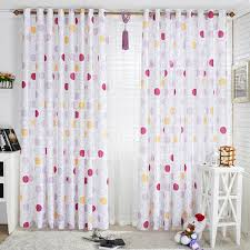 Sweet Polka Dots Printing White Bedroom Style Poly Cotton Blend Kids Curtain