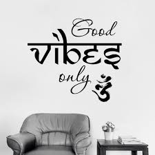New Style Good Vibes Only Wall Decal Yoga Vinyl Sticker Meditation Decals Home Decor Bedroom Dorm Art Wallpaper Hot Lc453 Decoration Bedroom Indian Decorationindian Style Decor Aliexpress