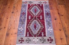 small boho kilim rug purple grey