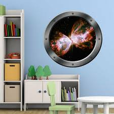 Zoomie Kids Stetler Outer Space Porthole Window Universe Framed Wall Decal Wayfair