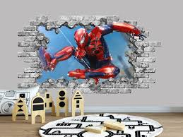 Wall Decal Spiderman Smashed Wall Decor Marvel 3d Depth Etsy