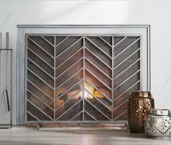 chevron fireplace screen fireplace