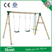 china round wooden swing set for 3 and