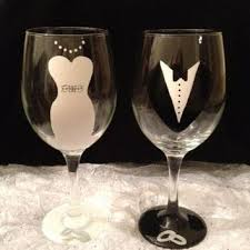 hand painted bride wine glass on wanelo
