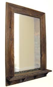 barnwood framed mirror with shelf by