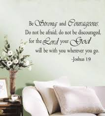 religious wall quote letters praise god be strong and courageous