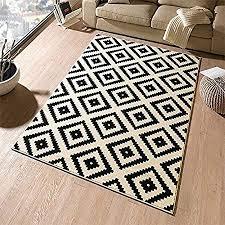 designer diamond black cream velour rug