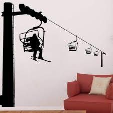 Amazon Com Artaslf Extreme Sport Wall Decal Ski Lift Wall Sticker Skiers Art Vinyl Decal Home Livingroom Decor Interior Designed 57x56cm Baby