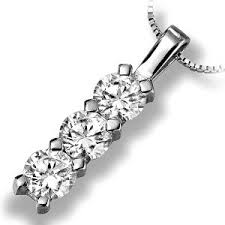 straight 3 stone diamond drop pendant