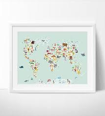 World Map Wall Art Kids Room Nursery Decor Animal World Poster Map Fine Art Center