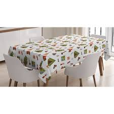 Camping Tablecloth Campfire Map Lantern Guitar And Compass Discovery In Woodland Boys Kids Cartoon Rectangular Table Cover For Dining Room Kitchen 60 X 84 Inches Multicolor By Ambesonne Walmart Com Walmart Com