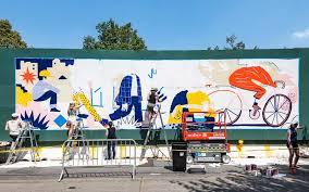 Artists Paint Murals On Pacific Park Construction Fence Mural Mural Painting Artist Paint