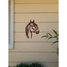 Unbranded 10 In Tall Steel Metal Rustic Rust Horse Face Wall Art Brownish Red Cd302 The Home Depot