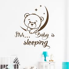 Baby Nursery Quotes Wall Decal Art Moon Decals Stars Home Decor Bedroom Wall Sticker Cute Bear Kids Girls Room Decoration Wish
