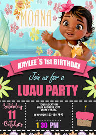 Moana Invitation For Birthday Party Moana Invite Custom Digital