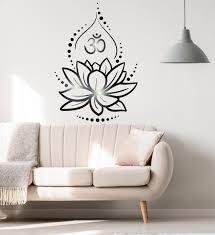Vinyl Wall Decal Lotus Flower Yoga Hinduism Hindu Om Symbol Stickers U Wallstickers4you