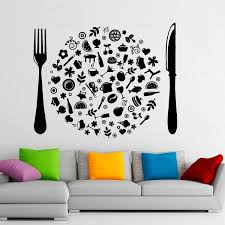 Cutlery Wall Vinyl Decal Food Stickers Cafe Art Interior Housewares Design Home Kitchen Decor Cuisine Home Decors Wish