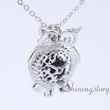 owl silver locket necklace natural