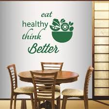 Amazon Com Wall Vinyl Decal Home Decor Art Sticker Eat Healthy Think Better Quote Phrase Salad Fruit Vegetable Vegetarian Food Kitchen Salad Bar Restaurant Room Removable Stylish Mural Unique Design 581 Home
