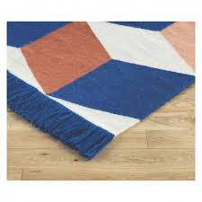 large blue and pink flat weave rug