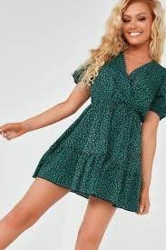 Ida Green Ditsy Print Frill Print Dress– Vavavoom.ie