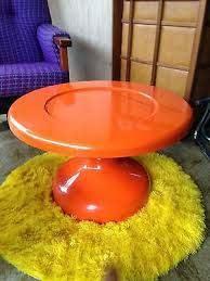 vintage retro round coffee table orange