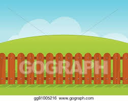 Vector Clipart Cartoon Landscape With A Wooden Fence Vector Illustration Gg81005216 Gograph