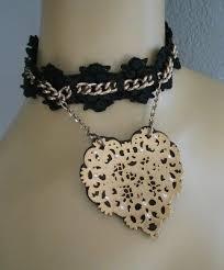 black filigree heart lace choker