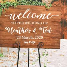 Wedding Welcome Wood Board Vinyl Decals Welcome Sign Mirror Stickers Custom Names And Date Decal Wedding Decor Art Az787 Wall Stickers Aliexpress