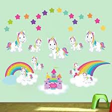 Amazon Com Decalmile Unicorn Wall Sticker Rainbow Princess Castle Wall Decal Art Girls Bedroom Baby Nursery Kids Room Wall Decor Kitchen Dining