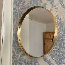 wall mirror brushed gold metal frame