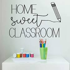 Amazon Com Classroom Decoration Home Sweet Classroom And Pencil Silhouette Vinyl Wall Decal Back To School Gift For Any Teacher Handmade