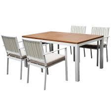 white 5 piece modern patio dining set