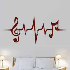 Music Pulse Symbol Wall Sticker Treble Clef Notes Removable Wall Decals Studio Living Room Music Room Bedroom Home Decor Ea046 Wall Stickers Aliexpress