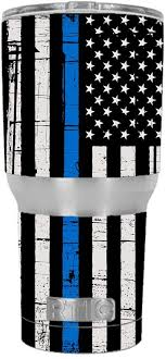 Amazon Com Skin Decal Vinyl Wrap For Rtic 30 Oz Tumbler Skins Stickers Cover Tumbler Thin Blue Line Blue Lives Matter Subdued Distressed American Flag U S Police Kitchen Dining