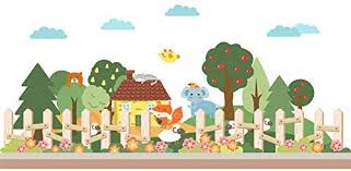 Hccy Cartoon Warm And Lovely Garden Fence Small Animal Children S Room Wall Stickers 177 57cm Amazon Co Uk Diy Tools