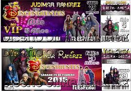 Tarjeta Invitacion Cumpleanos Descendientes Tipo Ticket 2016 Bs