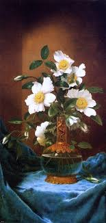 Martin Johnson Heade White Cherokee Roses In A Salamander Vase Wall Decal Contemporary Wall Decals By Art Megamart