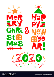 holiday quotes happy new year and merry christmas vector image