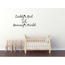Vinyl Decal Daddy S Girl And Mommy S World Wall Decal Sticker Mural Home Decor Quote Baby Nursery Walmart Com Walmart Com