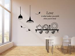 Vinyl Wall Decal Love Quote Kitchen Utensils Dining Room Decor Butterf Wallstickers4you