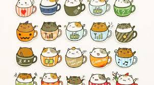 20pcs Coffee Cup Cat Stickers Planner Sticker Kawaii Etsy Cat Stickers Cute Stickers Cat Doodle
