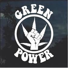 Green Power Marijuana Canabis Window Decal Sticker Midwest Sticker Shop