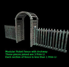 Second Life Marketplace Transgenia Modular Picket Fence Mesh System