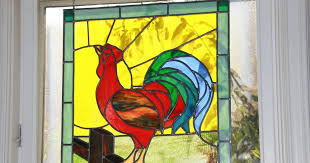 rednesday red rooster stained glass