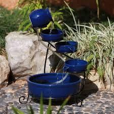 blue ceramic garden solar powered