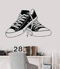 Vinyl Wall Decal Sneakers Teenager Shoes Shoe Shops Teen Room Stickers Wallstickers4you