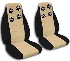 tan black paw print seat covers